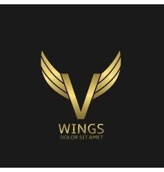 Golden V letter logo vector image