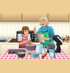 grandma preparing cookies vector image