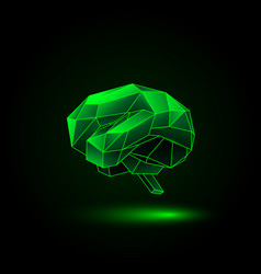 green neon polygonal human brain vector image