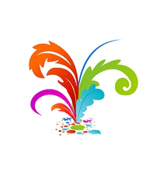 group colourful artistic feathers with ink vector image