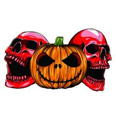 halloween monsters skull pupmkin isolation vector image