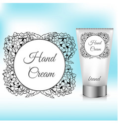 hand cream packaging with hydrangea wreath vector image