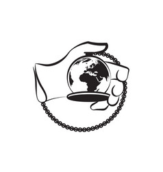 hand silhouette and stopwatch like a planet vector image