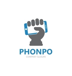 hand with phone logo design template vector image