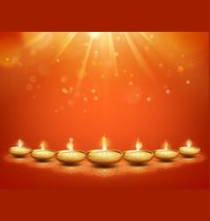happy diwali hindu festival lights greeting vector image
