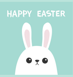 happy easter white bunny rabbit head face picaboo vector image