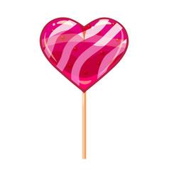 heart shaped lollipop dessert icon on stick sweet vector image