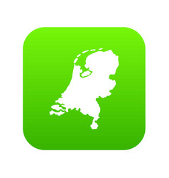 holland map icon digital green vector image