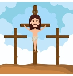 Jesus christ crucified calvary design vector image