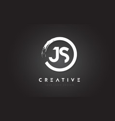 Js circular letter logo with circle brush design vector