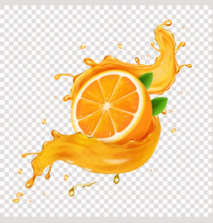 Juicy orange fruit in realistic juice splash vector