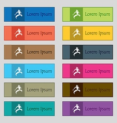 Karate kick icon sign Set of twelve rectangular vector image