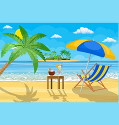 landscape of wooden chaise lounge vector image