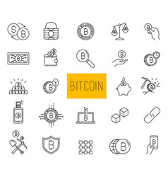 line stroke cryptocurrency icons vector image