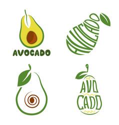 Logo green avocado fruit with text for health vector