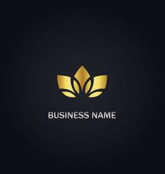 lotus flower organic gold logo vector image