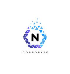 n blue hexagon letter logo with triangles vector image