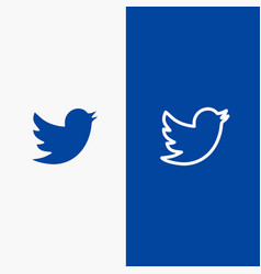 Network social twitter line and glyph solid icon vector