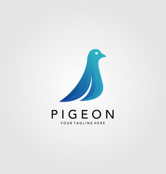 pigeon bird minimalist logo design blue bird icon vector image