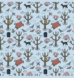 Retro style park seamless pattern vector