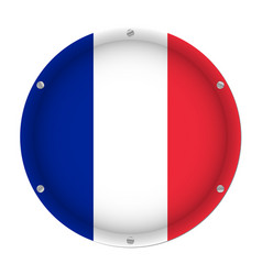 round metallic flag of france with screws vector image