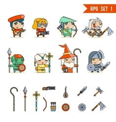 RPG Game Fantasy Character Icons Set vector image