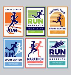 running club poster marathon winners sportsmen vector image
