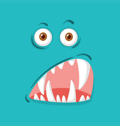Scary monster facial expression vector