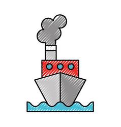 Scribble ship cartoon vector