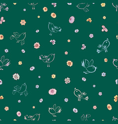 Seamless background stylized birds and flowers vector