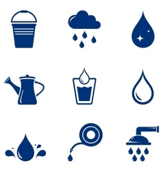 Set blue watering icons vector