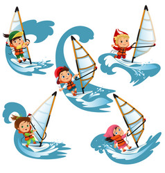 set cartoon children sailing on swim on waves vector image