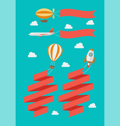 set flying vehicle pull banners vector image