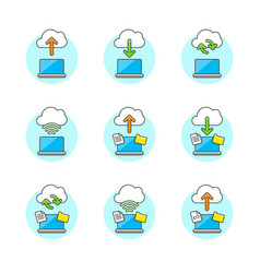 set of multicolor cloud-computing icons vector image