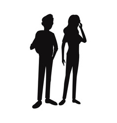 silhouette teens boy girl student think vector image