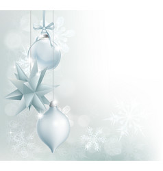 silver blue snowflake christmas bauble background vector image