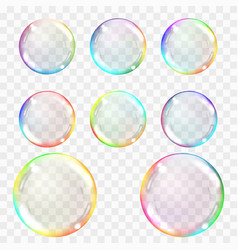 soap bubble set of multicolored transparent vector image