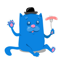 Stock blue cat with sausage vector