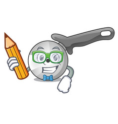 Student character pizza cutter with handle cartoon vector