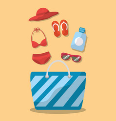 summer elements bag bikini sunglasses hat sandals vector image