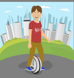 Teenager boy riding an electric unicycle outside vector