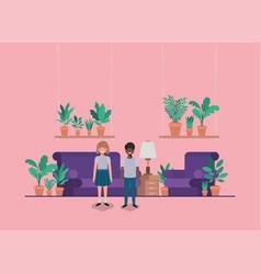 Teenager couple in livingroom vector