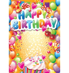 Template for happy birthday card with place vector