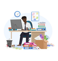 tired sleepy african american black male office vector image