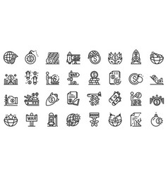 trade war icons set outline style vector image