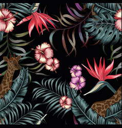 tropical night exotic seamless composittion black vector image