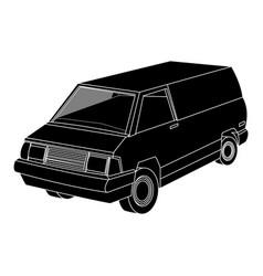 Vintage 90s style van car icon image vector
