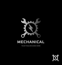 Vintage wrench gear logo and faster symbol flat vector