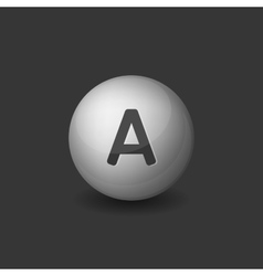 Vitamin A Silver Glossy Sphere on Dark Background vector
