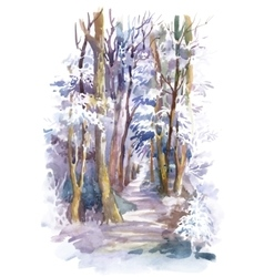 Watercolor winter forest with trees vector